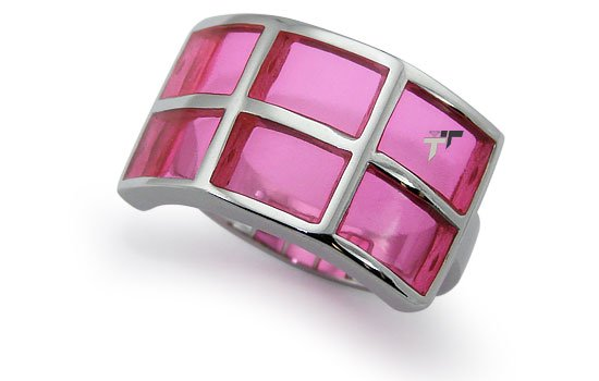Stainless Steel Women's Ring w/ Pink Resin Inlay - R32047