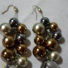 brown & silver dangley hook earings