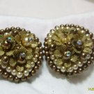 flower brown clip on earings