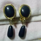 GOLD & Navy blue clip on earings