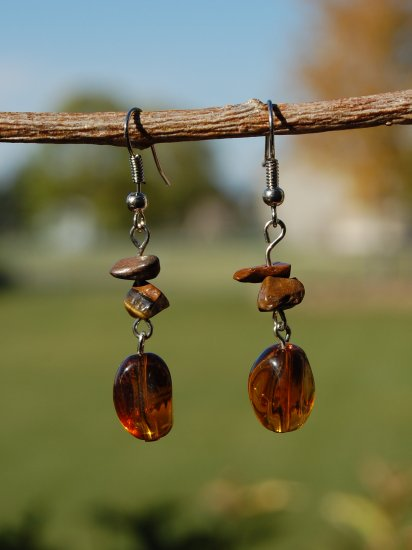 Glass and Stone Chip Earrings
