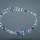 Multi Teal Double Stranded Necklace