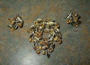 Vintage Citrine Rhinestone Crystal Brooch&Earrings Set