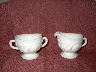 Vintage Westmoreland Milkglass Footed Cream & Sugar- Fruit