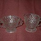 Vintage Duncan Miller Hobnail Clear Glass Cream&Sugar