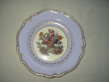 Vintage Spode Lavender Blue Plate With Flower Basket Center-10 1/2""