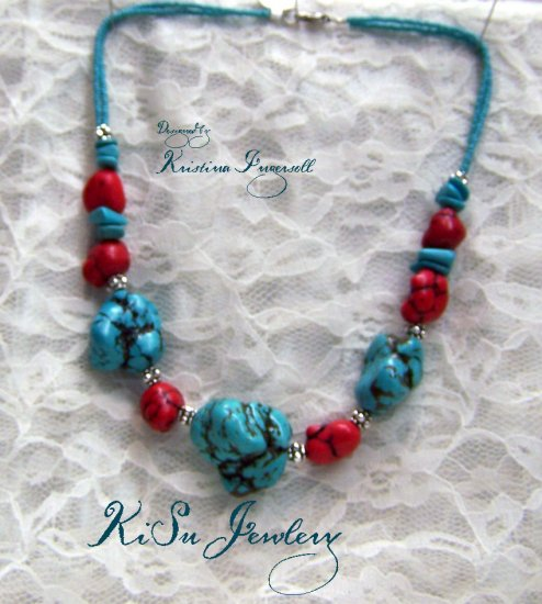 Turquoise and coral   Gemstone Necklace