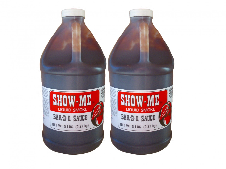 Two Half Gallon Show-Me Liquid Smoke Bar-B-Que Sauce 5 lbs bottles