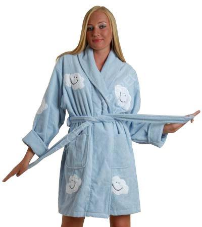 Women's Cloud Appliqued Short Bathrobe