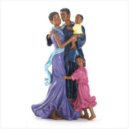 FAMILY OF FOUR FIGURINE African American