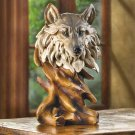 RUSTIC WOLF SCULPTURE