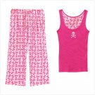 WOMENS PINK SKULL LOUNGEWEAR-LG SET