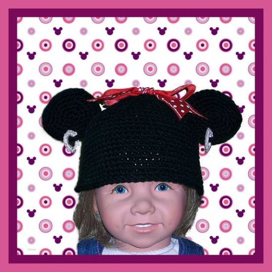 Minnie Mouse Disney Ears Child's Toddler Crochet Hat with Hoop Earrings