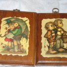 pair of vintage Hummell kid wall art 70's retro FREE US SHIPPING