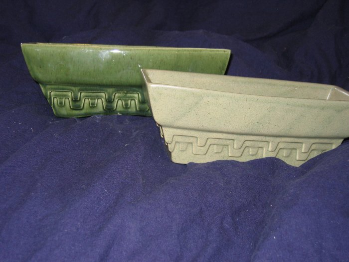 Pair of green Haeger pottery greek key pattern planters #3774 - A FREE US SHIPPING