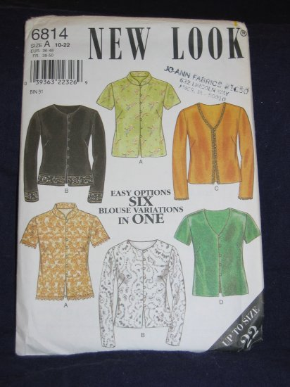 New Look pattern 6814 Size A 10-22 uncut out of print pattern FREE US SHIPPING