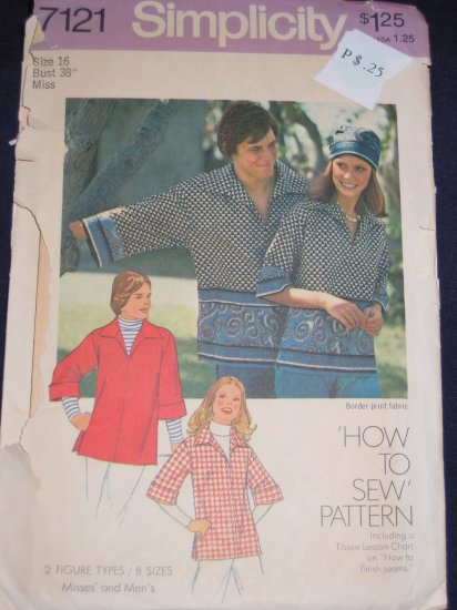 1975 Simplicty pattern number 7121 size 16 uncut out of print FREE US SHIPPING