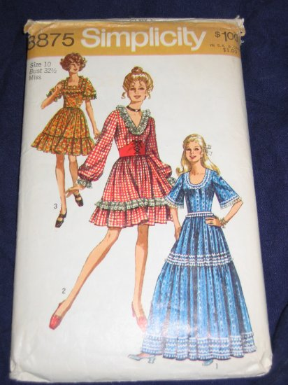 1970 hippie boho chic dress pattern Simplicity 8875 uncut OOP Size 10 FREE US SHIPPING