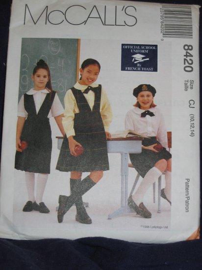 McCall 8420 Girls' School Uniforms Pattern 7-10 uncut FREE US SHIPPING