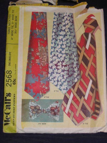 """VTG 1970 McCALL'S 2568 MEN'S 4""""/5"""" WIDE TIE 3.5"""" BOWTIE  OOP FREE US SHIPPING"""