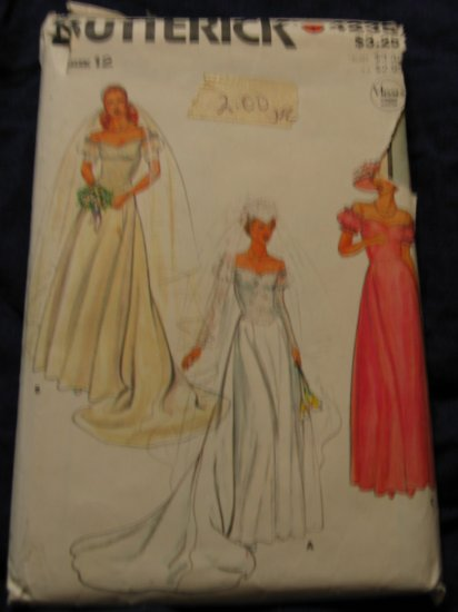 1970's VTG WEDDING DRESS pattern UNCUT/Out Of Print Butterick 4235 Size 12 FREE US SHIPPING