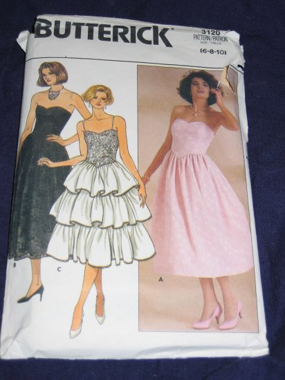 1985 prom/evening dress pattern Butterick 3120 size 10 out of print FREE US SHIPPING