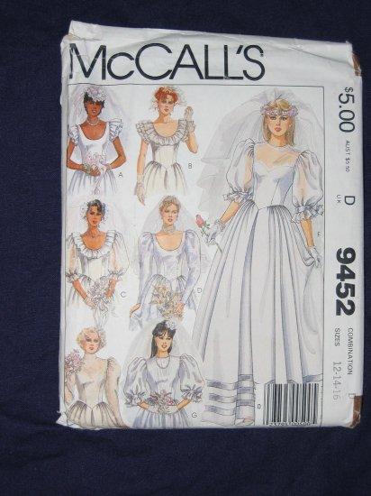 1985 Uncut/Out of Print WEDDING DRESS pattern McCalls 9452 size 12/14/16 FREE US SHIPPING