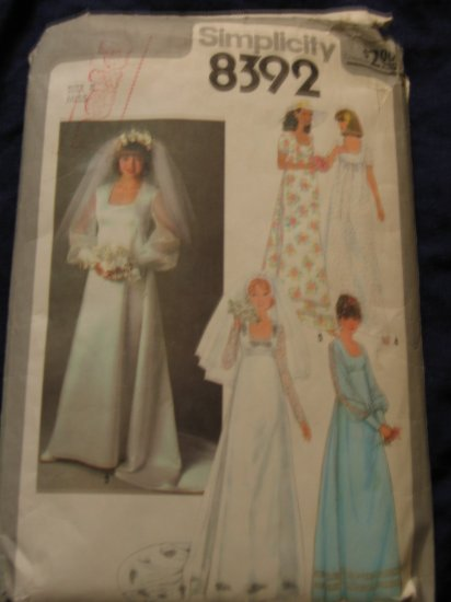 1978 VTG WEDDING GOWN pattern Simplicity 8392 size 8 Out of Print FREE US SHIPPING