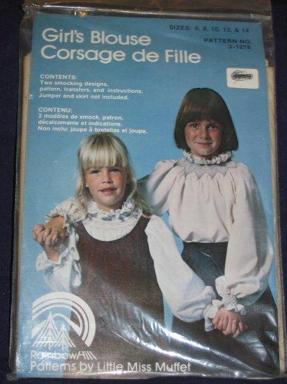 VTG girls blouse smocking pattern sizes 6-14 unopened out of print FREE US SHIPPING