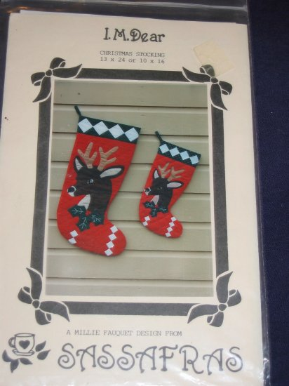 """VTg """"I.M. Dear"""" quilted christmas stocking pattern FREE US SHIPPING"""