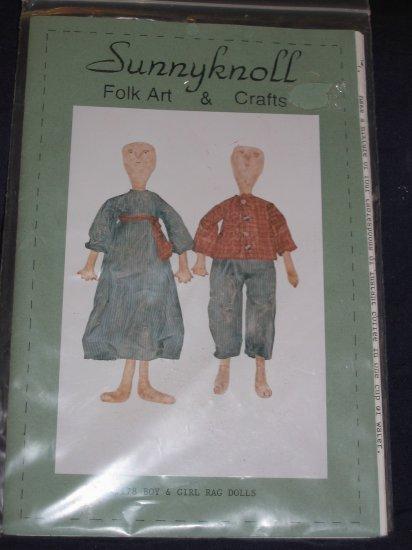 Sunnyknoll rag dolls pattern, boy/girl uncut pattern FREE US SHIPPING