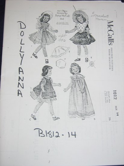 """14"""" Betsy McCall, Toni doll clothes uncut repro pattern FREE US SHIPPING"""