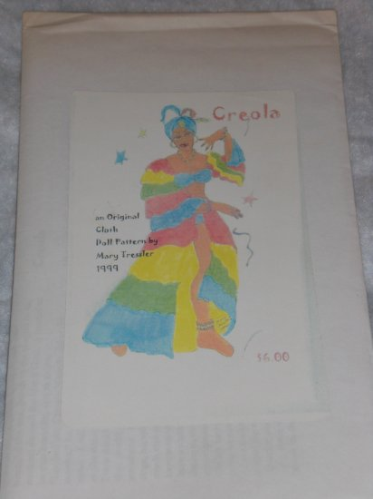 """Unused Mary Tressler soft scultpure doll pattern """"Creola"""" FREE US SHIPPING"""