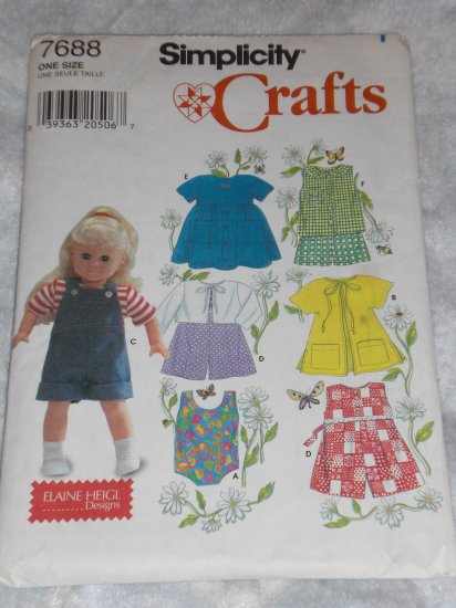 """Simplicity 7688 doll clothes pattern for 18"""" doll FREE US SHIPPING"""