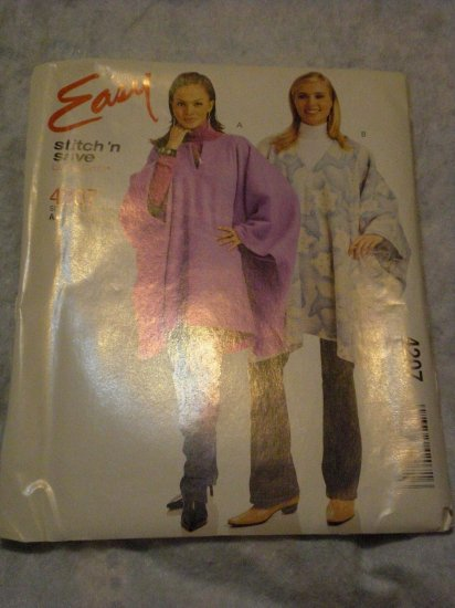 McCalls 4207 easy size A 8-18 uncut poncho, wrap FREE US SHIPPING