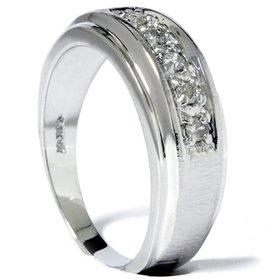14K White Gold Band Brushed Bright Finish .15CT Diamond Wedding Ring Mens Ladies