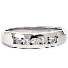 REAL MENS 0.50CT DIAMOND CHANNEL SET VINTAGE WEDDING RING BAND 14K WHITE GOLD