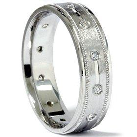MENS 14KT GENIUNE DIAMOND RING .30CT BRUSHED FINISH WEDDING BAND 14K WHITE GOLD
