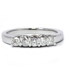 FASHIONABLE LADIES RING 0.55CT DIAMOND PRONG SET WEDDING BAND 14K WHITE GOLD