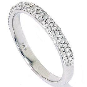 Elegant 0.45CT Pave Diamond Wedding Ring 14K White Gold