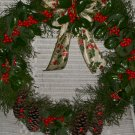 Wreath-Live Holly & Cedar