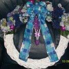 Wreath - White wicker vine - purple & blue