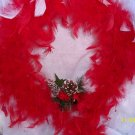 Wreath - Reb & White Feather with cardinal