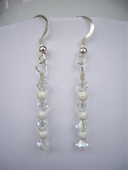 Earrings - 4mm Clear AB Swarovski Crystal Bicone and Stardust Sterling Silver Drop (handmade)