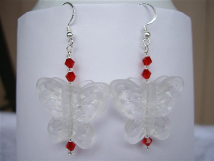 Earrings - Clear Frosted Glass Butterfly and Red 4mm Bicone Crystal Drop Earrings (handmade)