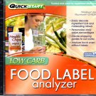 QuickStart: Low-Carb Food Label Analyzer CD-ROM for Win/Mac - NEW in JC