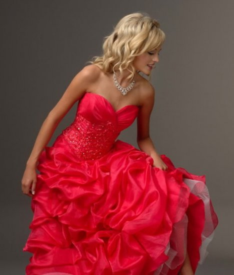 RED Strapless Style LACE Wedding Dress Bridesmaid Bridal Gown Custom