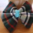 Plaid  Heart dog bow