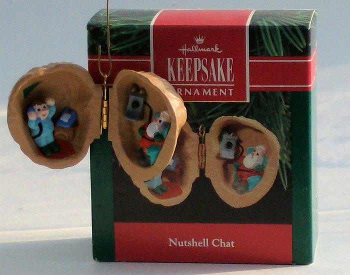 Hallmark Ornament 1990 Nutshell Chat - Santa Phone Wish
