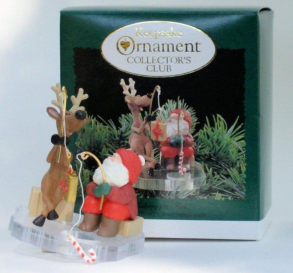 Hallmark Ornament Fishing For Fun 1995 Santa Reindeer